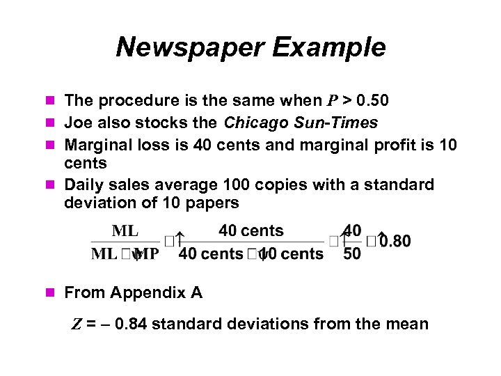 Newspaper Example The procedure is the same when P > 0. 50 Joe also