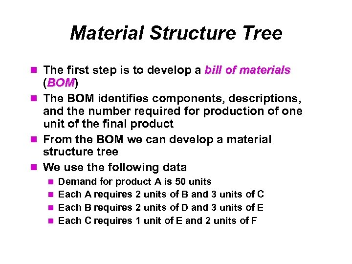 Material Structure Tree The first step is to develop a bill of materials (BOM)