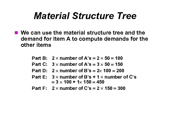 Material Structure Tree We can use the material structure tree and the demand for