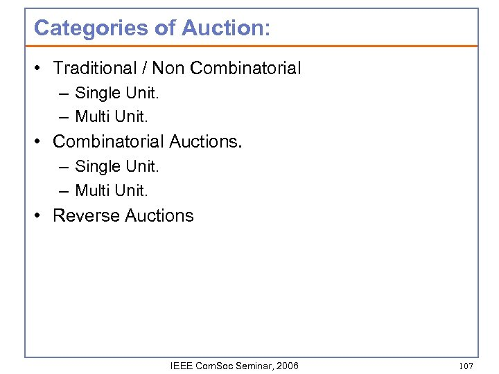 Categories of Auction: • Traditional / Non Combinatorial – Single Unit. – Multi Unit.
