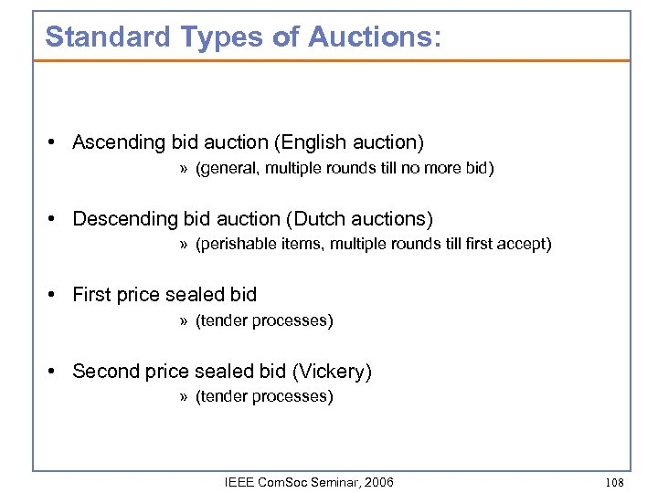 Standard Types of Auctions: • Ascending bid auction (English auction) » (general, multiple rounds