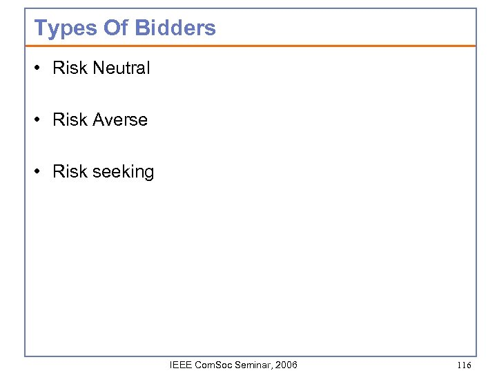 Types Of Bidders • Risk Neutral • Risk Averse • Risk seeking IEEE Com.