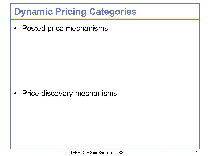 Dynamic Pricing Categories • Posted price mechanisms • Price discovery mechanisms IEEE Com. Soc