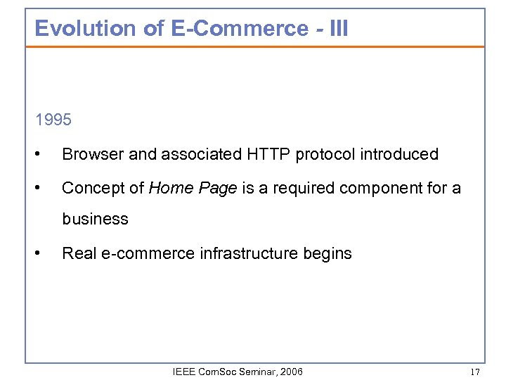 Evolution of E-Commerce - III 1995 • Browser and associated HTTP protocol introduced •