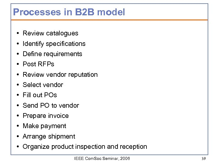 Processes in B 2 B model • Review catalogues • Identify specifications • Define