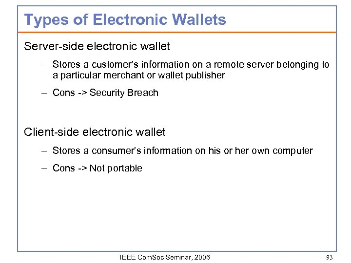 Types of Electronic Wallets Server-side electronic wallet – Stores a customer's information on a