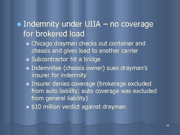 l Indemnity under UIIA – no coverage for brokered load Chicago drayman checks out