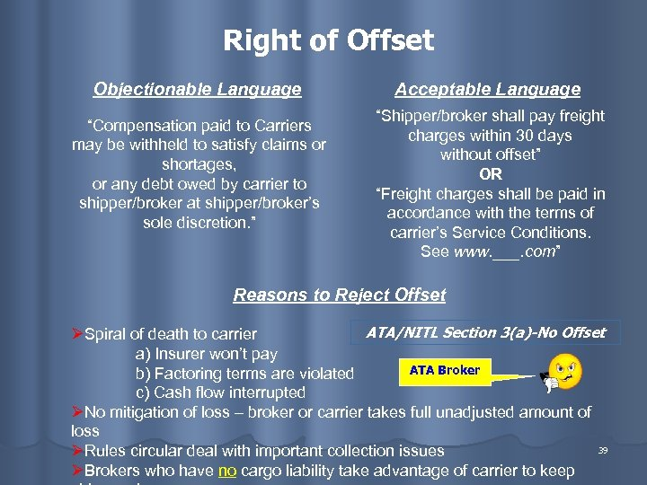 """Right of Offset Objectionable Language """"Compensation paid to Carriers may be withheld to satisfy"""