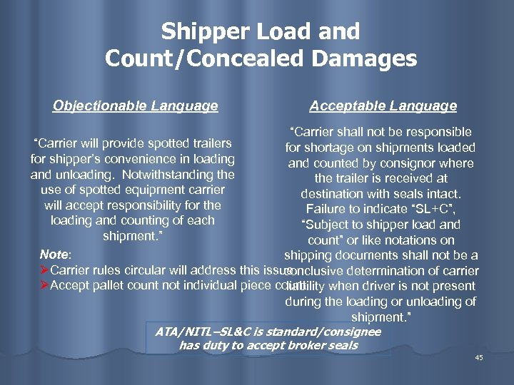 """Shipper Load and Count/Concealed Damages Objectionable Language Acceptable Language """"Carrier shall not be responsible"""