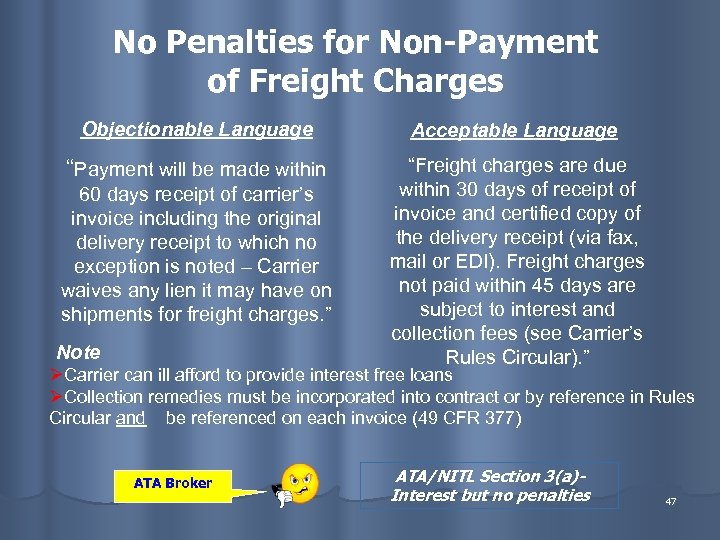 """No Penalties for Non-Payment of Freight Charges Objectionable Language Acceptable Language """"Payment will be"""