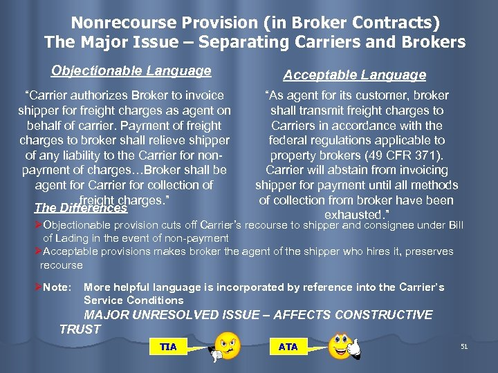 Nonrecourse Provision (in Broker Contracts) The Major Issue – Separating Carriers and Brokers Objectionable