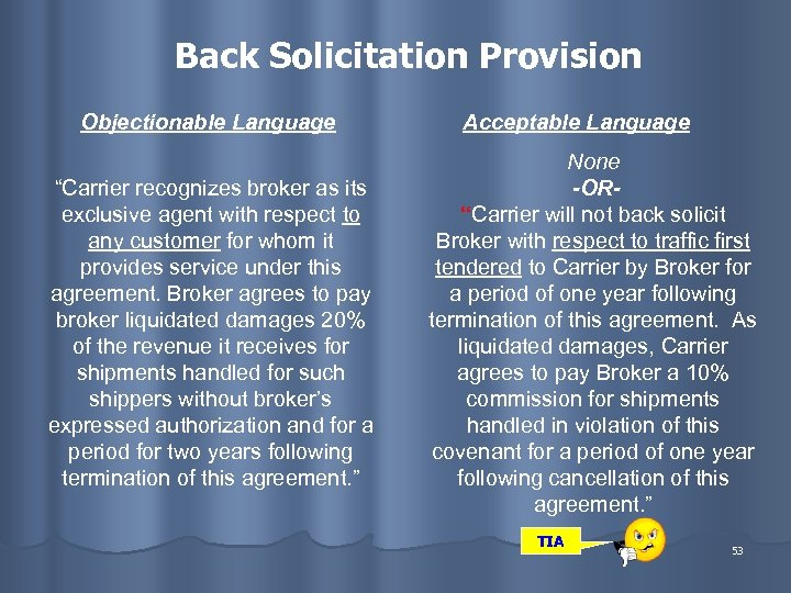 """Back Solicitation Provision Objectionable Language """"Carrier recognizes broker as its exclusive agent with respect"""