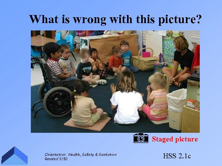 What is wrong with this picture? Staged picture Orientation: Health, Safety & Sanitation Revised