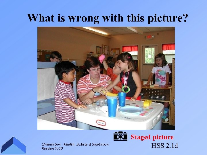 What is wrong with this picture? Orientation: Health, Safety & Sanitation Revised 3/10 Staged