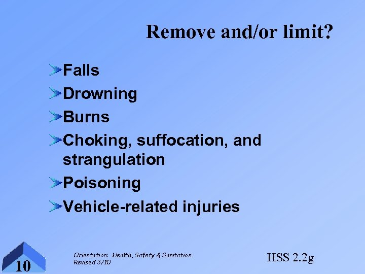 Remove and/or limit? Falls Drowning Burns Choking, suffocation, and strangulation Poisoning Vehicle-related injuries 10