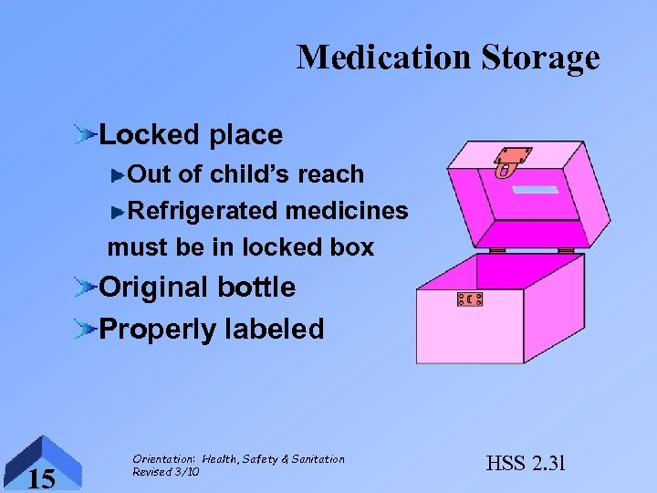 Medication Storage Locked place Out of child's reach Refrigerated medicines must be in locked