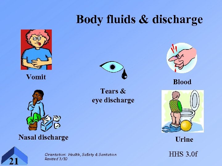 Body fluids & discharge Vomit Blood Tears & eye discharge Nasal discharge 21 Orientation: