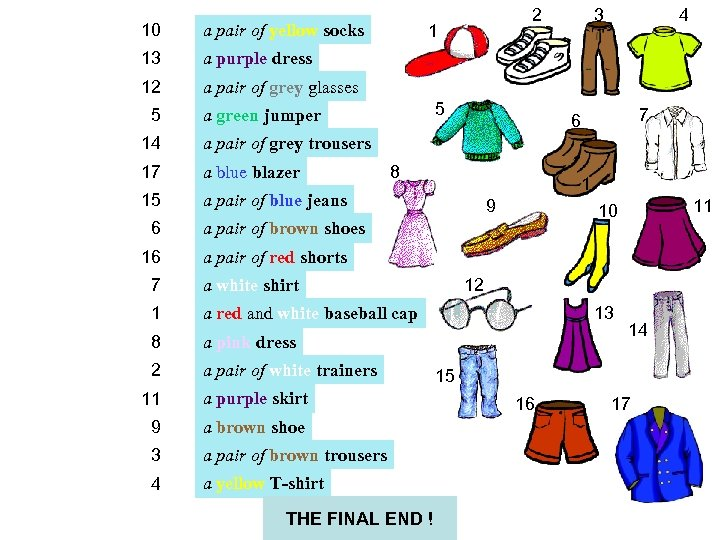 10 a pair of yellow socks 13 3 4 a purple dress 12 2