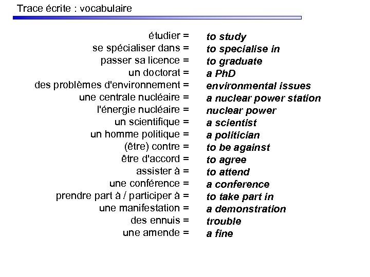 Trace écrite : vocabulaire étudier = se spécialiser dans = passer sa licence =