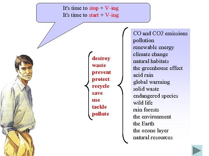 It's time to stop + V-ing It's time to start + V-ing destroy waste