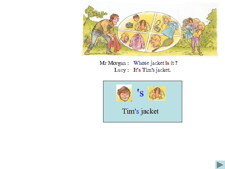 Mr Morgan : Whose jacket is it ? Lucy : It's Tim's jacket. 's