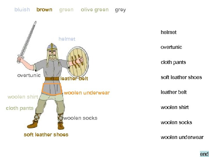 bluish brown green olive green grey helmet overtunic cloth pants overtunic woolen shirt leather