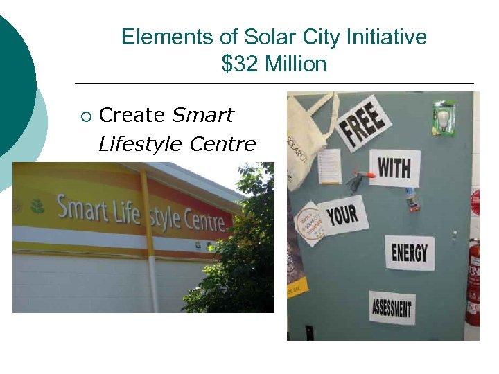 Elements of Solar City Initiative $32 Million ¡ Create Smart Lifestyle Centre