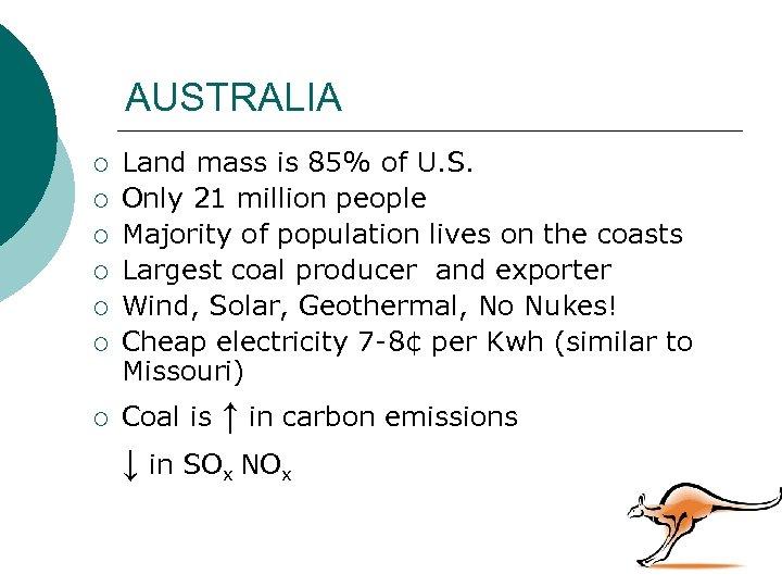AUSTRALIA ¡ ¡ ¡ ¡ Land mass is 85% of U. S. Only 21
