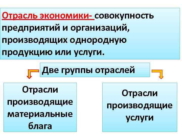 Отрасль экономики- совокупность предприятий и организаций, производящих однородную продукцию или услуги. Две группы отраслей