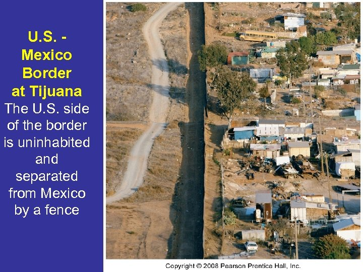 U. S. Mexico Border at Tijuana The U. S. side of the border is