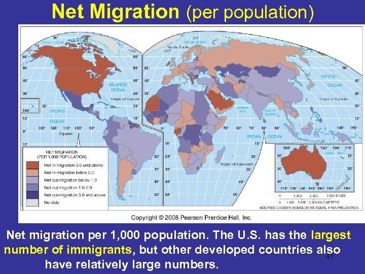 Net Migration (per population) Net migration per 1, 000 population. The U. S. has
