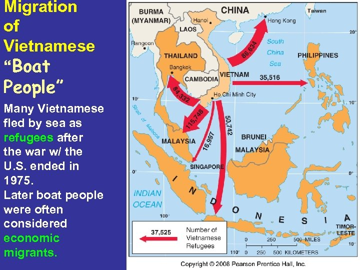 "Migration of Vietnamese ""Boat People"" Many Vietnamese fled by sea as refugees after the"