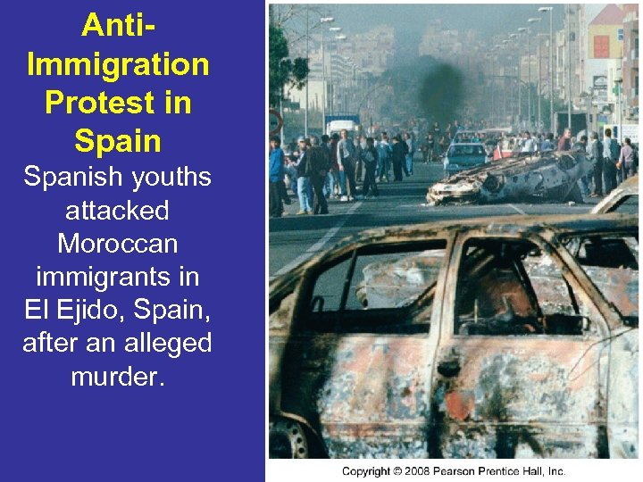 Anti. Immigration Protest in Spanish youths attacked Moroccan immigrants in El Ejido, Spain, after