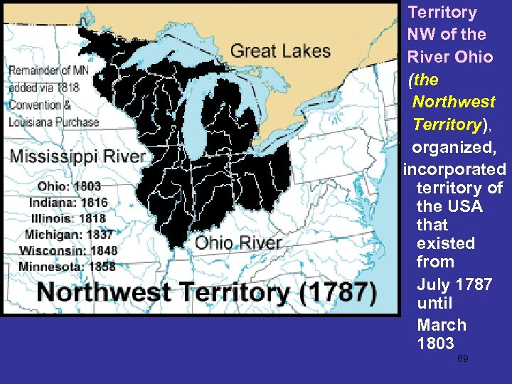 Territory NW of the River Ohio (the Northwest Territory), organized, incorporated territory of the