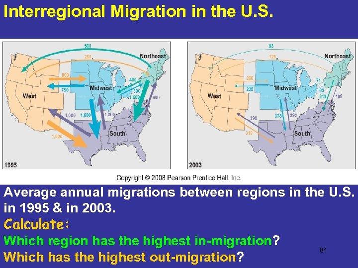 Interregional Migration in the U. S. Average annual migrations between regions in the U.