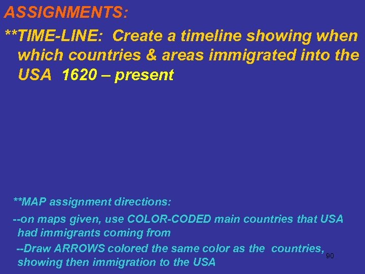 ASSIGNMENTS: **TIME-LINE: Create a timeline showing when which countries & areas immigrated into the