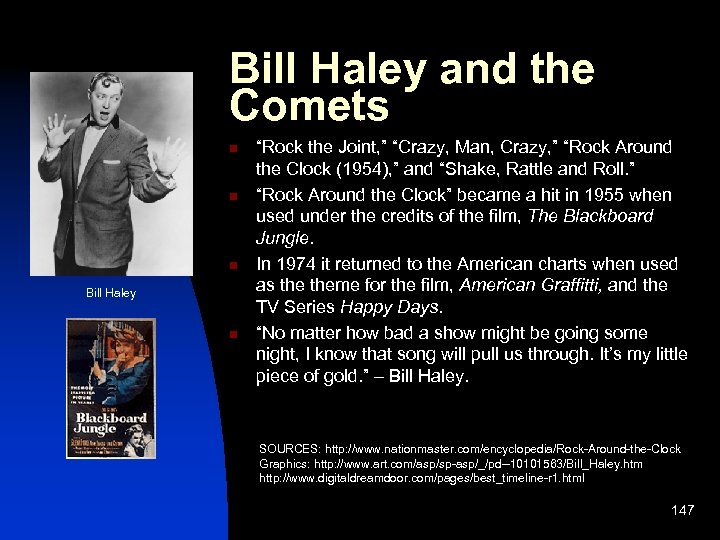 """Bill Haley and the Comets n n n Bill Haley n """"Rock the Joint,"""
