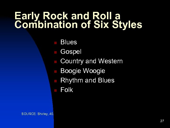 Early Rock and Roll a Combination of Six Styles n n n Blues Gospel