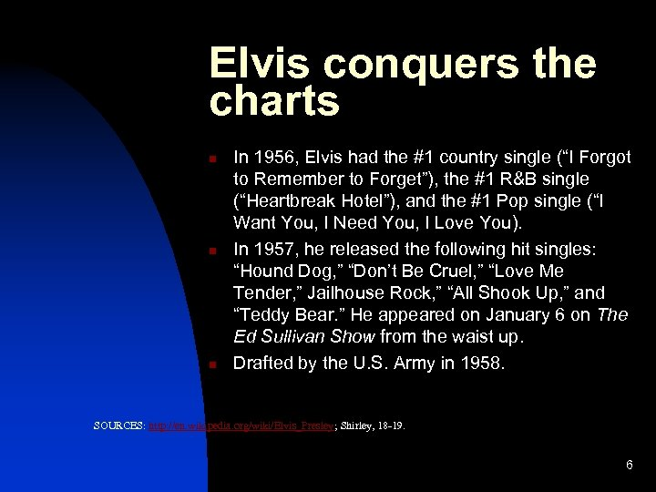 Elvis conquers the charts n n n In 1956, Elvis had the #1 country