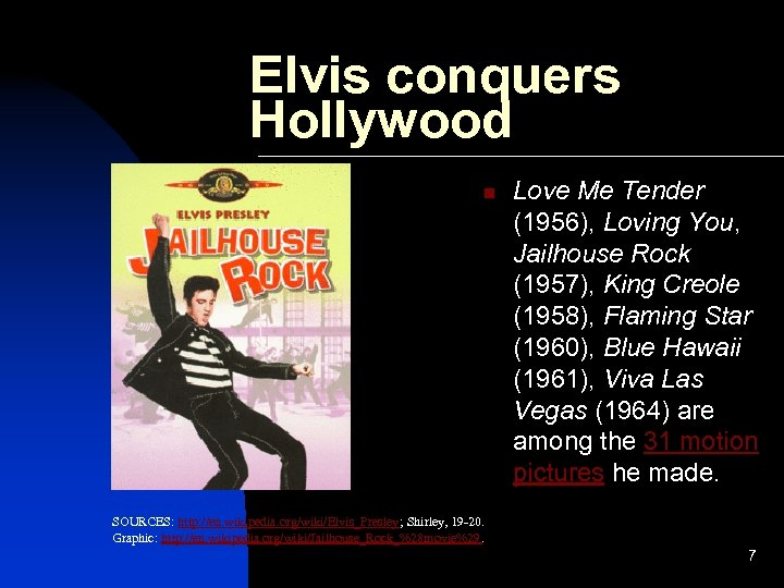 Elvis conquers Hollywood n Love Me Tender (1956), Loving You, Jailhouse Rock (1957), King