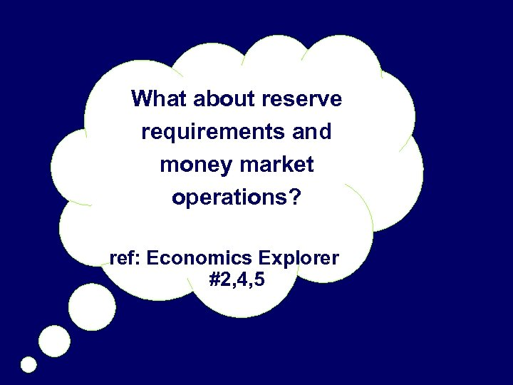 What about reserve requirements and money market operations? ref: Economics Explorer #2, 4, 5