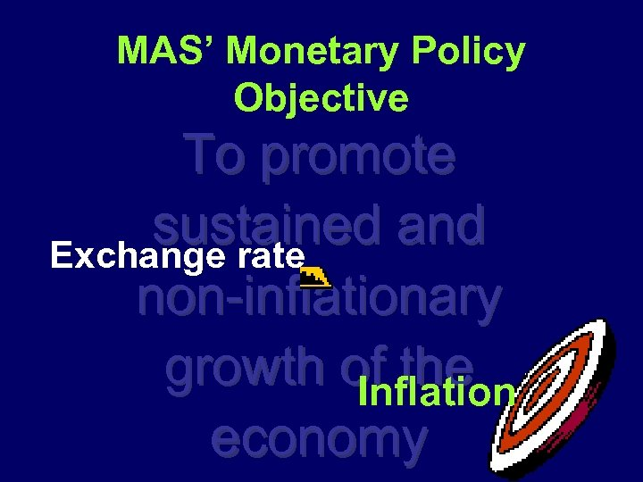 MAS' Monetary Policy Objective To promote sustained and Exchange rate non-inflationary growth of the