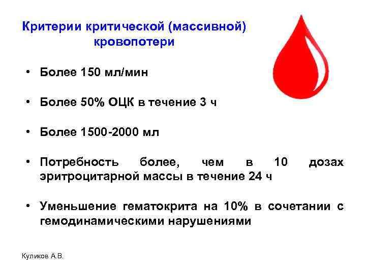 Критерии критической (массивной) кровопотери • Более 150 мл/мин • Более 50% ОЦК в течение