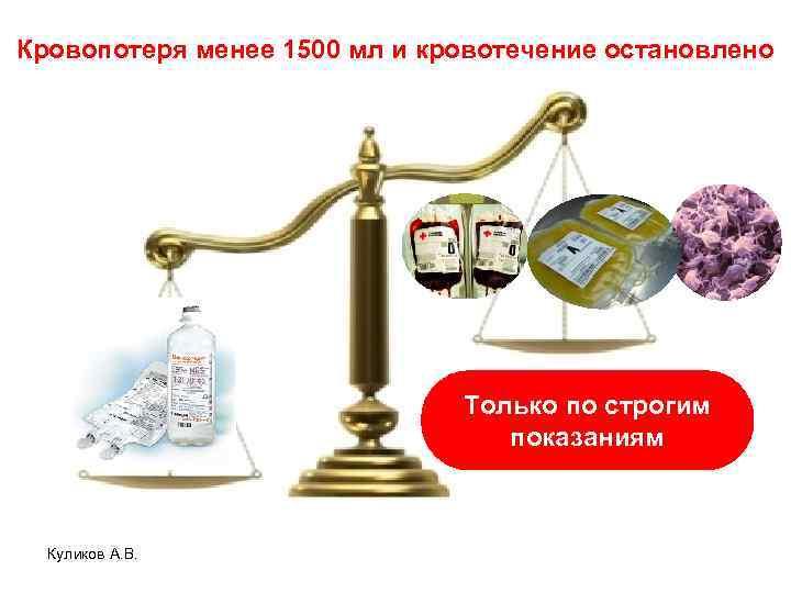 Кровопотеря менее 1500 мл и кровотечение остановлено Только по строгим показаниям Куликов А. В.