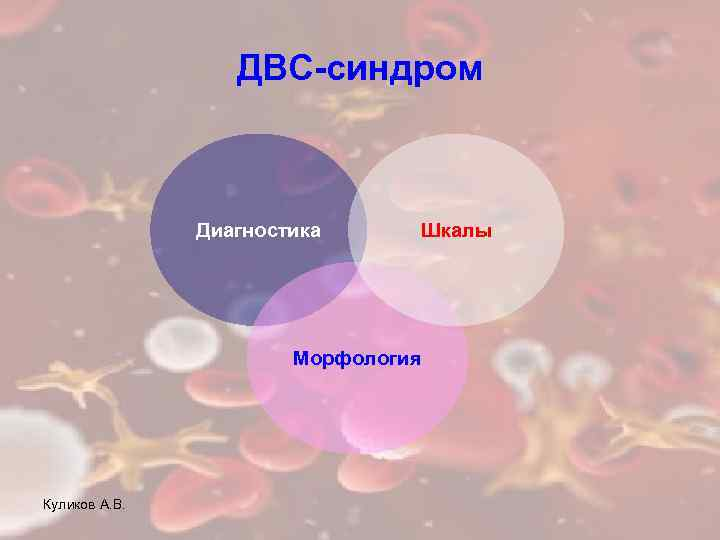 ДВС-синдром Диагностика Шкалы Морфология Куликов А. В.