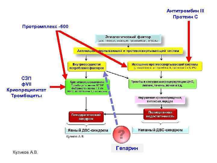 Антитромбин III Протеин C Протромплекс -600 СЗП ф. VII Криопреципитат Тромбоциты Куликов А. В.