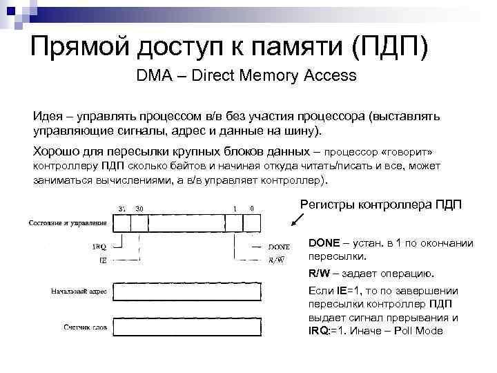 Прямой доступ к памяти (ПДП) DMA – Direct Memory Access Идея – управлять процессом