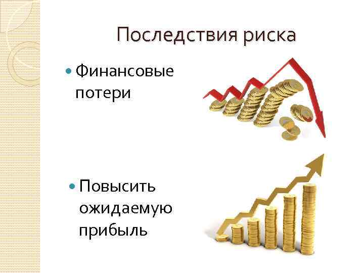 Последствия риска Финансовые потери Повысить ожидаемую прибыль