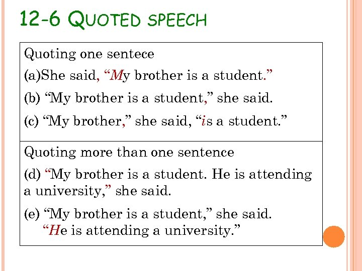 "12 -6 QUOTED SPEECH Quoting one sentece (a)She said, ""My brother is a student."