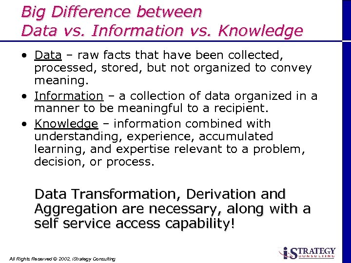 Big Difference between Data vs. Information vs. Knowledge • Data – raw facts that